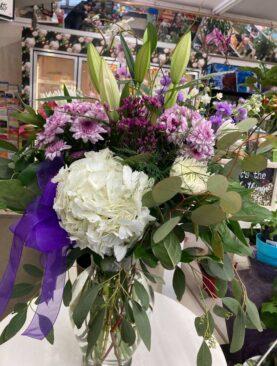 Hydrangea arrangement in a vase